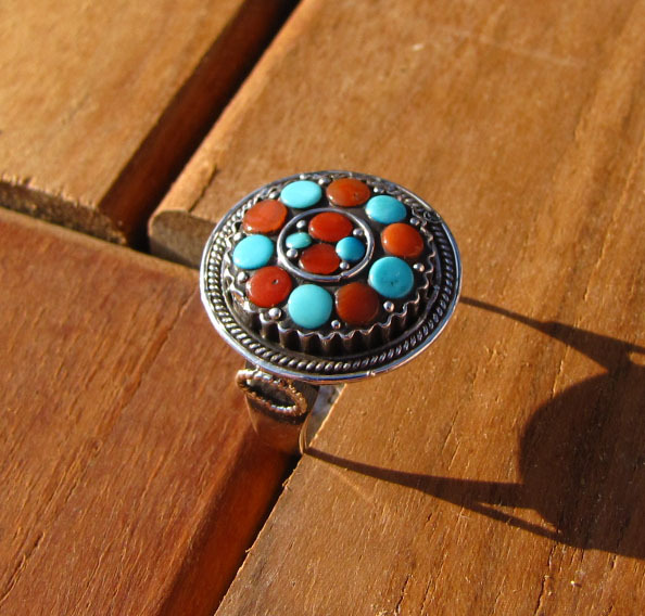 Indian Ethnic Silver Ring Turquoise and Red Coral Kathmandu/2