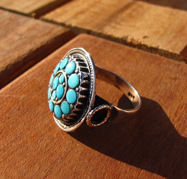 Ring with Turquois in ethnic design - Indian 925 Silver Jewelry
