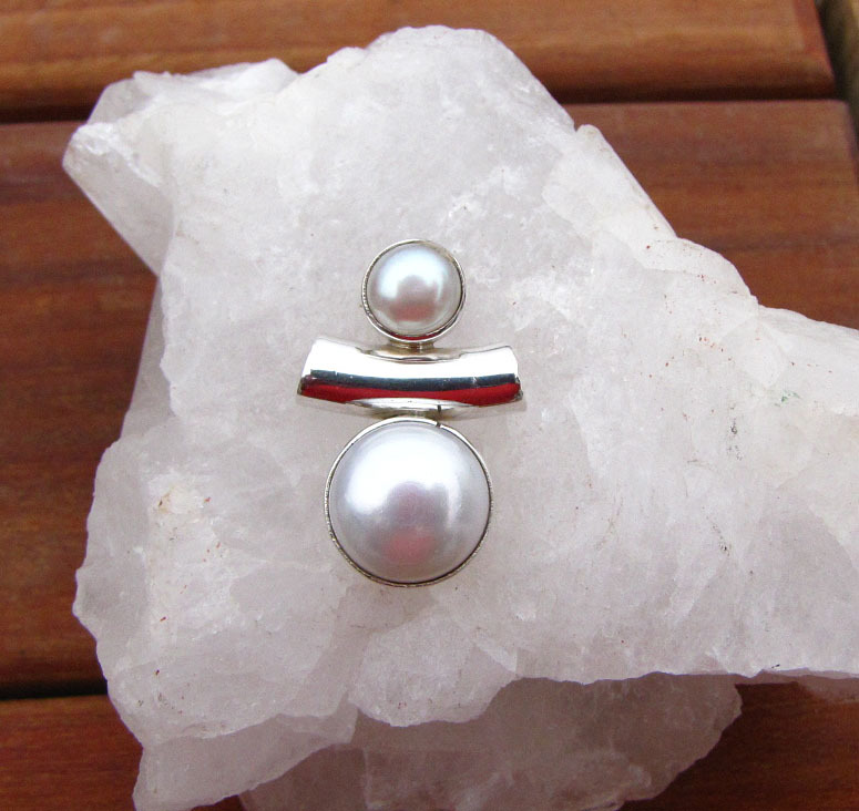 Indian 925 Silver Jewelry Pendant with Pearl /1