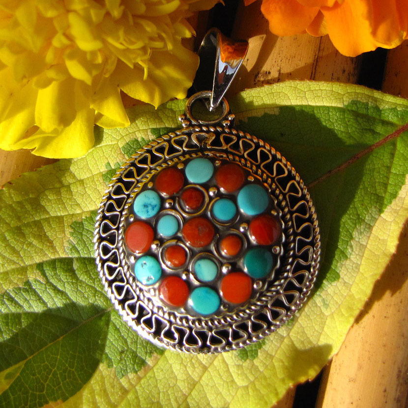 Silver Pendant ethnic style Turquoise and Coral Kathmandu /6