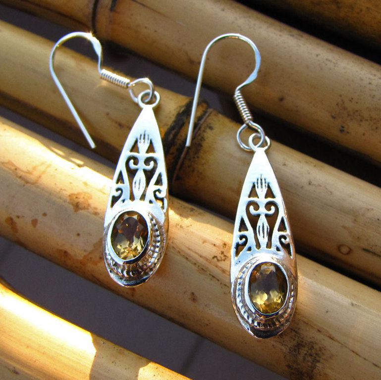 Indian jewelry earrings with silver and garnet / 4