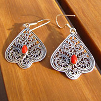 Enchanting 925 Silver Earrings Jewelry with Red Coral