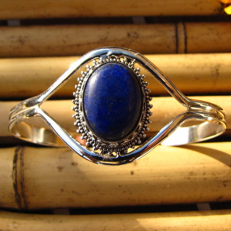Indian 925 Silver Bangle with Lapis Lazuli - 'Madras/23'
