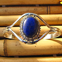 Indian Bangle - Lapis Lazuli adorned in 925 Silver