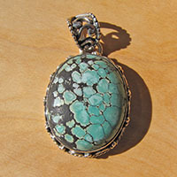 Indian Turquoise Pendant ornated - Ethnic 925 Silver Jewelry
