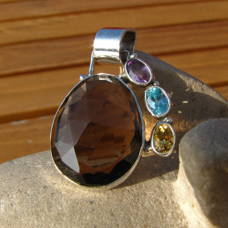 Indian Smokey Quartz Pendant with Gems - 925 Silver Jewelry