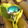 Ring with Turquoise smooth Silver Setting - Indian Jewelry