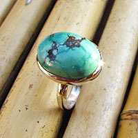 Ring with Turquoise smooth 925 Silver Setting - Indian Jewelry