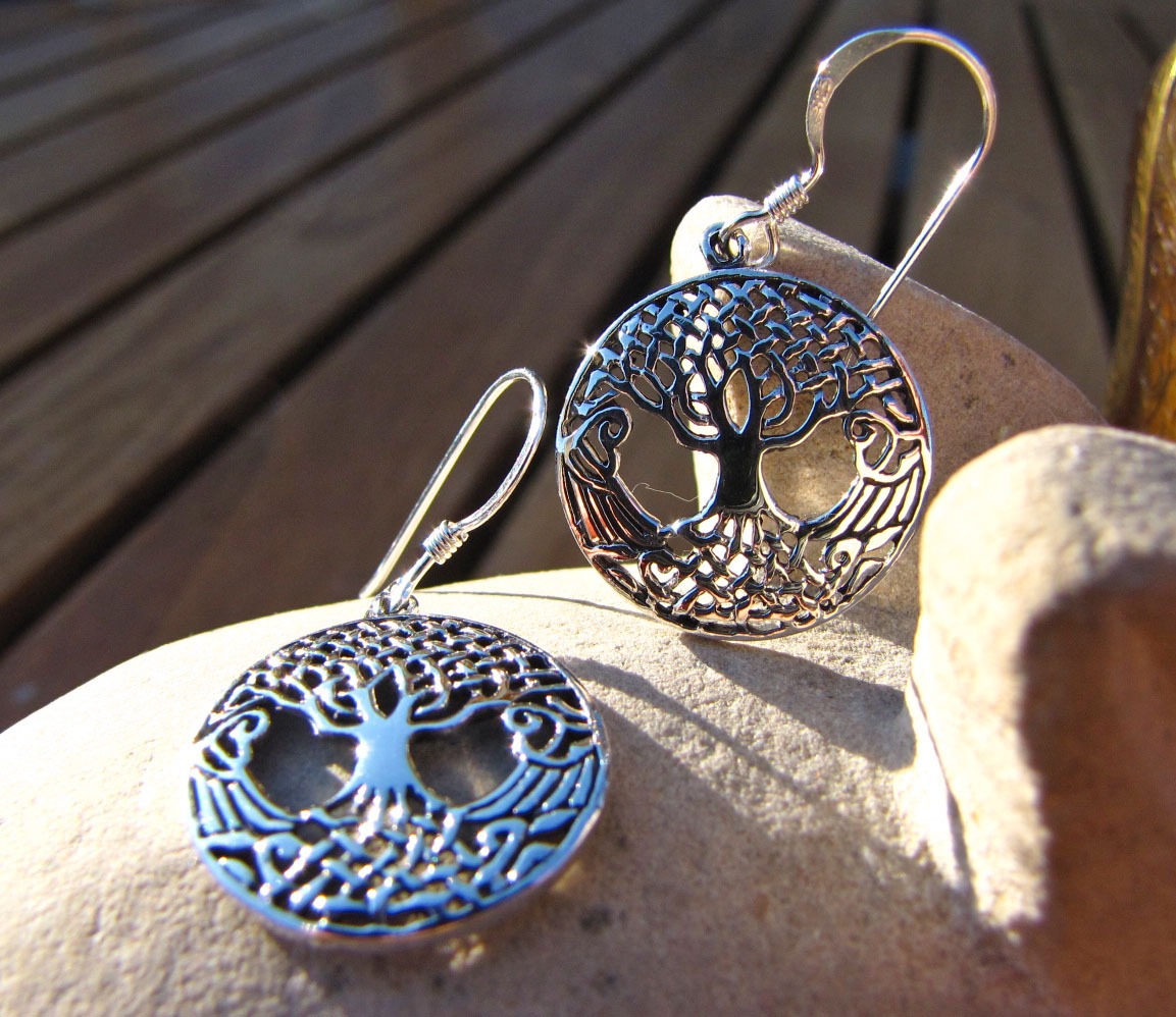 Indian Silver Earrings Jewelry - Tree of Life Symbol /1
