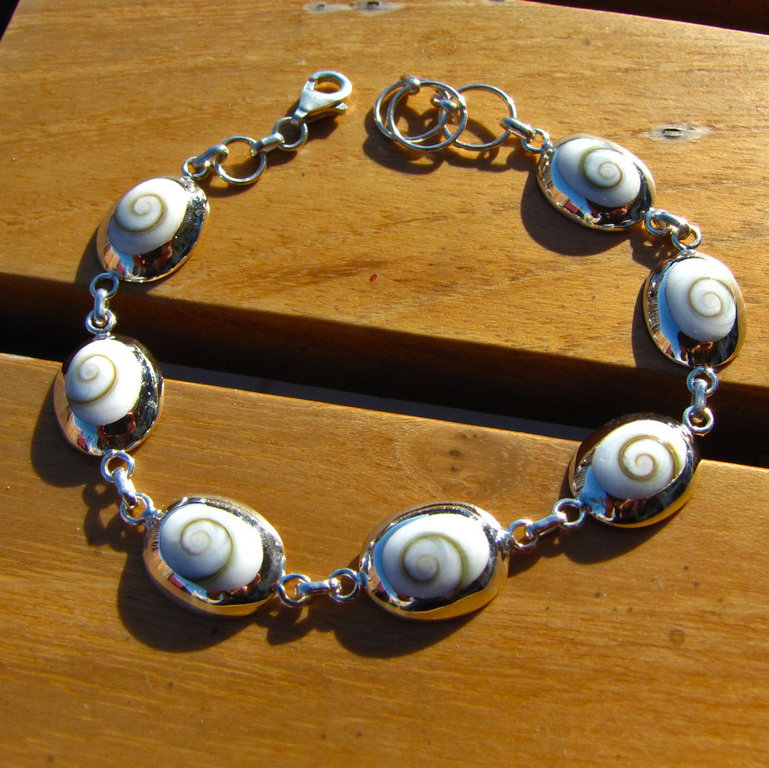 Bracelet with Shiva Shell oval - Indian 925 Silver Jewelry