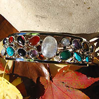 Indian Gemstones Bangle 2 rows - 925 Silver Jewelry