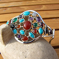 Indian Bracelet Jewelry - Silver with Gemstones