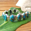 "Indian Silver bracelet with Sea Jasper Varascite - ""Goa/67"""