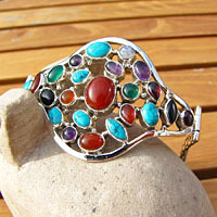 Gemstones Bracelet with Carnelian • 925 Silver