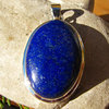 Large Pendant with Lapis Lazuli deep blue - Silver Jewelry