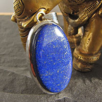 Large Pendant with Lapis Lazuli deep blue - 925 Silver Jewelry