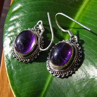 Indian Amethyst Earrings Ethnic Style ornated 925 Silver