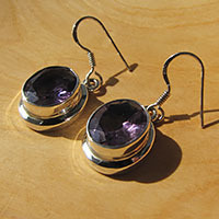Indian 925 Silver Earrings Jewelry - facetted Amethyst oval