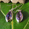 Indian Silver Earrings Jewelry Amethyst navette shape 17-4