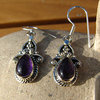 Earrings with Amethyst - decorative Indian Silver adornment