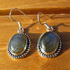Indian Labradorite Earrings adorned with Silver cord