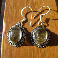 Indian 925 Silver Earrings Jewelry Rutilated Quartz