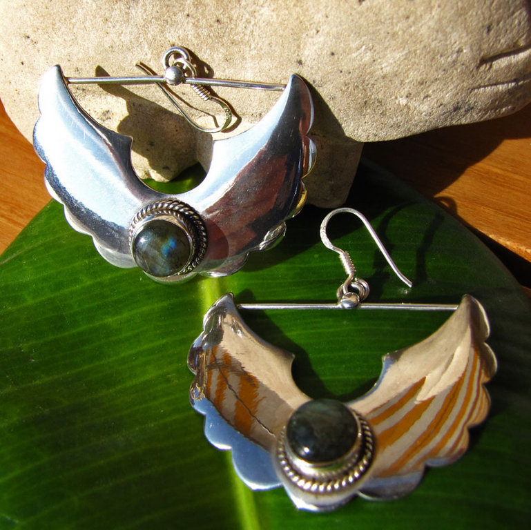 Indian Labradorite ethnic style Earrings 925 Silver /20