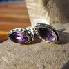 Indian Silver Stud Earrings with Amethyst in navette shape /1