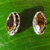 Indian Silver Stud Earrings with Citrine in navette shape /1