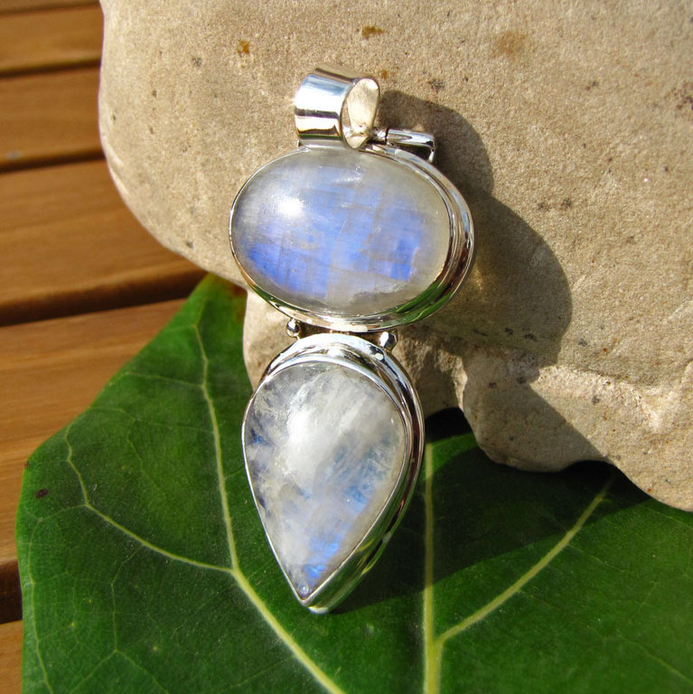 Large double Moonstone Jewelry Pendant 925 Silver /25