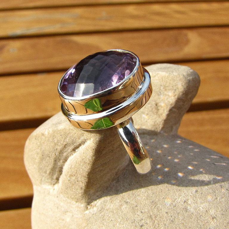 Amethyst Ring - Indian Rings Jewelry 925 Silver /15-3