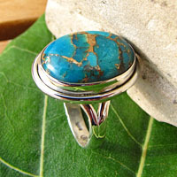 Ring with Sea Jasper blue Variscite - Indian 925 Silver Jewelry