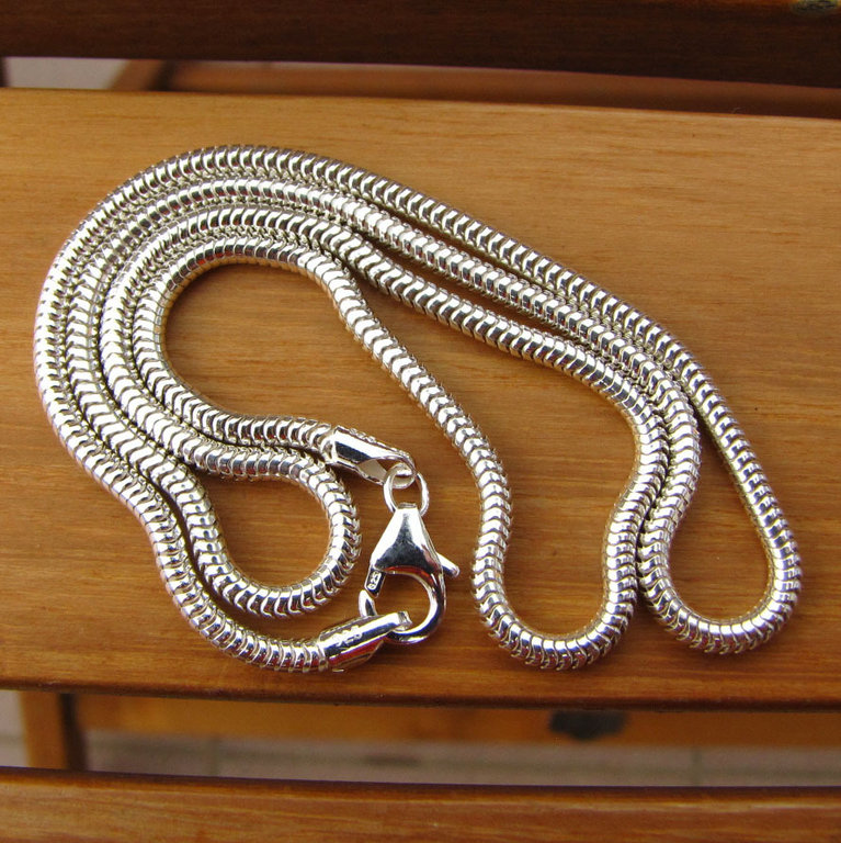Indian Snake Chain 925 Sterling Silver Ø 2.4mm glossy