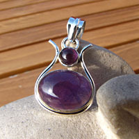 Indian Amethyst Jewelry Pendant • 925 Silver