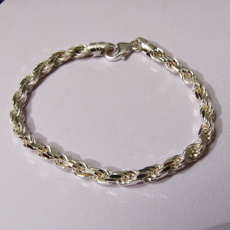Cord Chain Bracelet Ø 6.5 mm 925 Sterling Silver /3-4