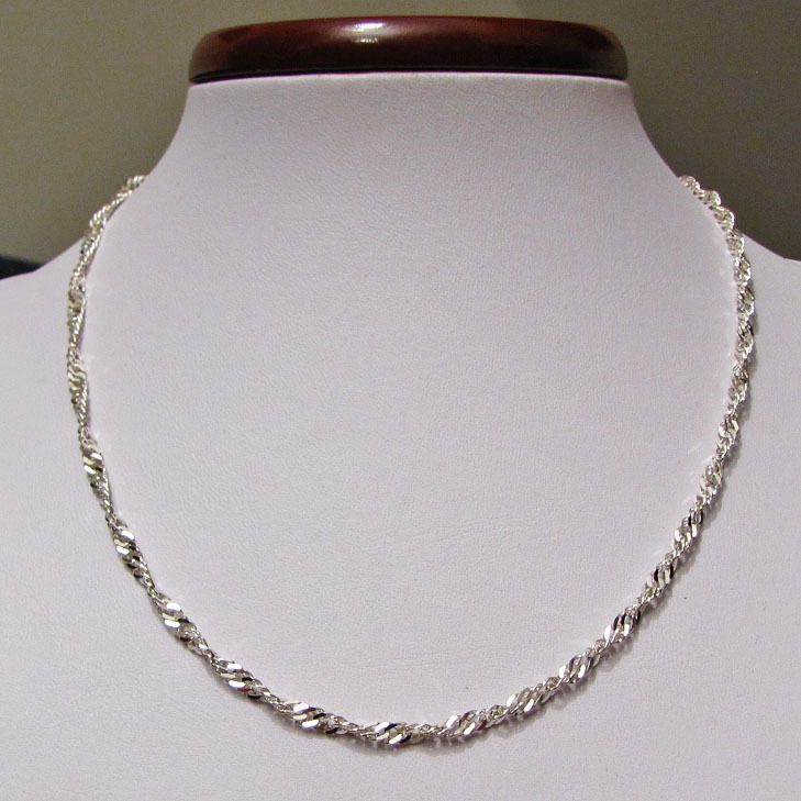 Singapore Necklace 3.3mm pure 925 Sterling Silver /1-2