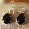 Indian Earrings Jewelry - Onyx in smooth Silver setting