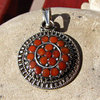 Red Coral Pendant round - Ethnic Jewelry 925 Silver