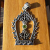 Indian Ethnic Silver Jewelry Pendant - Vajra with Peridot