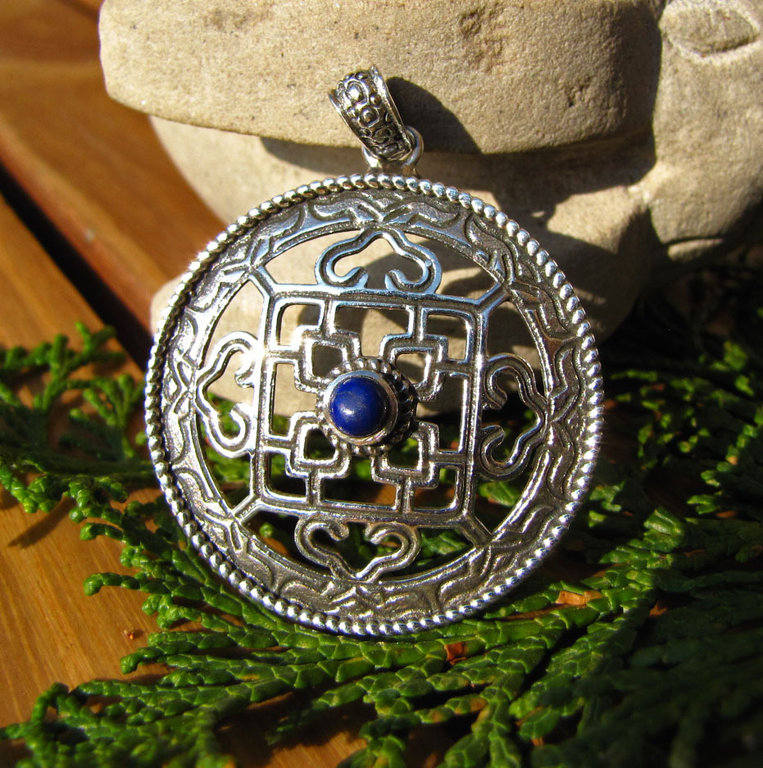 Indian Silver Ethnic Jewelry - Amulet with Lapis Lazuli