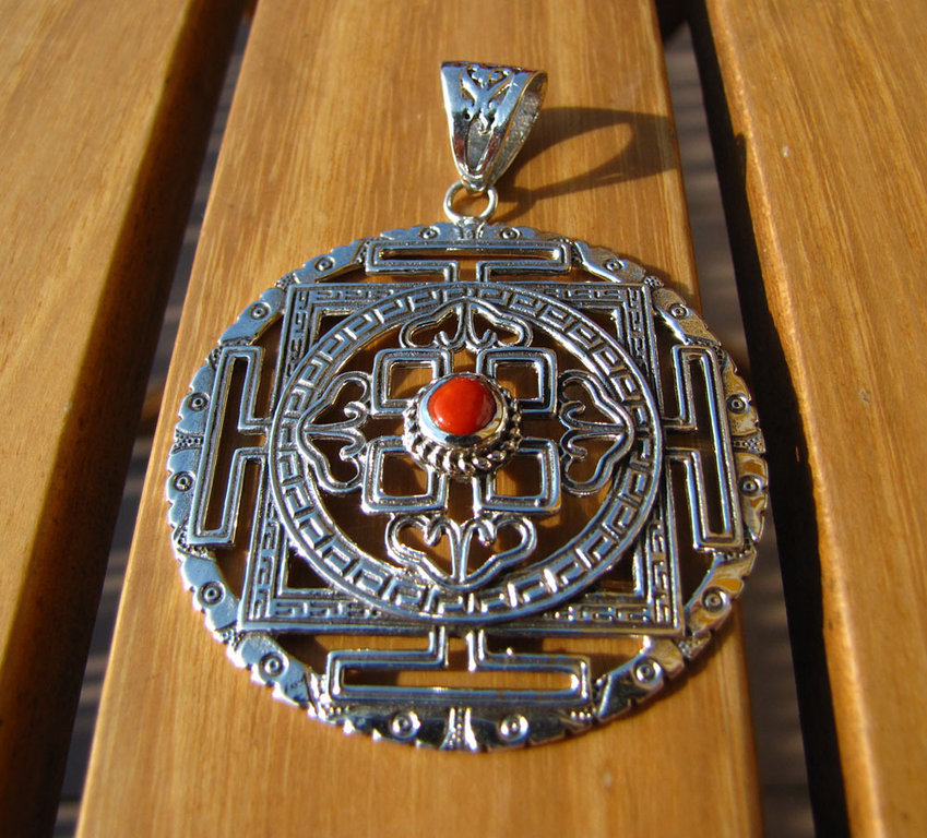Indian Ethnic Jewelry 925 Sterling Silver great Amulet with Red Coral 15-5-1