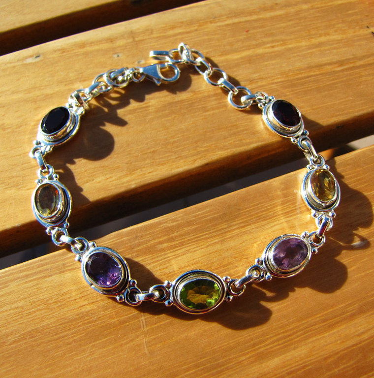 Fine Indian Silver Bracelet with Amethyst, Garnet, Citrine, Peridot