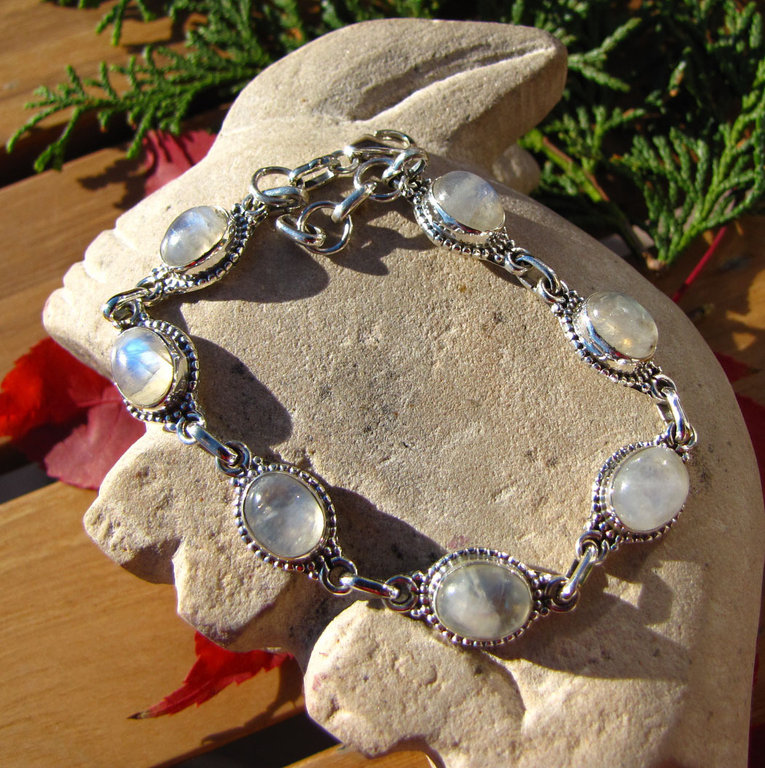 Indian Moonstone Bracelet Jewelry 925 Silver 'Goa/74'