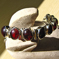 Indian 925 Silver Bracelet - dark red Garnet Jewelry