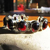 Indian 925 Silver Bracelet - Jewelry with Garnet 16-1-1