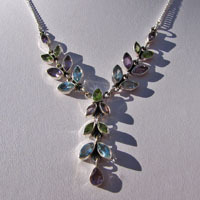 Fine Silver Necklace with Peridot, Amethyst, Blue Topaz