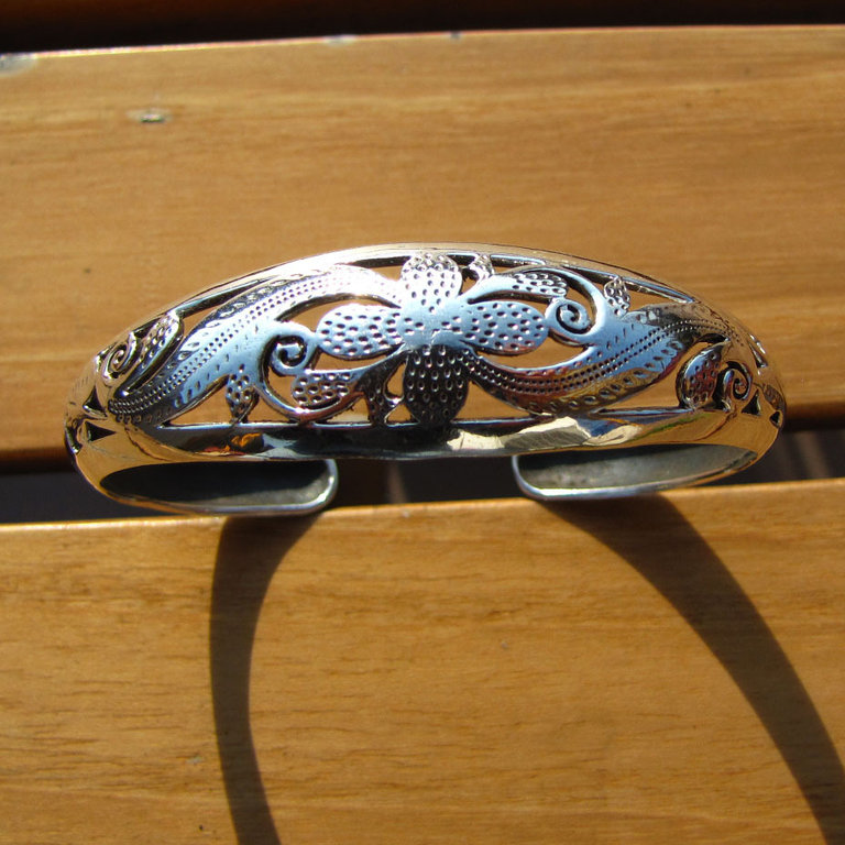 Indian 925 Silver Jewelry Bangle with blossom - 'Madras/40'