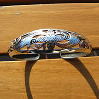 Indian 925 Silver Bangle - Blossom and Floral Pattern