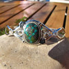 Indian Silver Bangle with Turquoise in pretty ornament