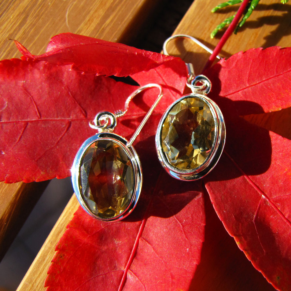 Indian Silver Earrings Jewelry with Citrine - 'Delhi/20'